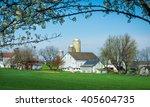 Small photo of Amish farm framed by a tree.