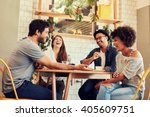 young friends having a great... | Shutterstock . vector #405609751
