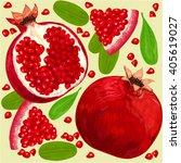 garnet  composition of fruits... | Shutterstock .eps vector #405619027