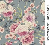 seamless floral pattern with... | Shutterstock . vector #405635341