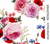 seamless floral pattern with... | Shutterstock . vector #405635485