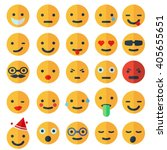 set of different smileys  flat... | Shutterstock .eps vector #405655651
