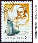 """Small photo of HUNGARY - CIRCA 1987: A stamp printed in Hungary from the """"Antarctic Exploration """" issue shows Fabian von Bellingshausen and seals, circa 1987."""