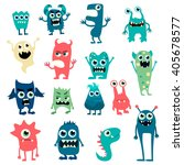 Stock vector cartoon flat monsters big set icons colorful kids toy cute monster vector eps 405678577