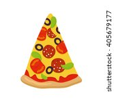 piece of pizza on white... | Shutterstock .eps vector #405679177