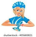 cyclist woman | Shutterstock .eps vector #405683821