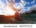 sport girl. young woman resting ... | Shutterstock . vector #405707215