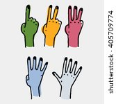 five human counting colored... | Shutterstock .eps vector #405709774