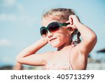 beautiful little girl with... | Shutterstock . vector #405713299