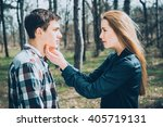 funny young couple in love... | Shutterstock . vector #405719131