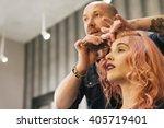 beautiful woman getting haircut ... | Shutterstock . vector #405719401