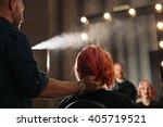 beautiful woman getting haircut ... | Shutterstock . vector #405719521