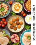 table served with middle... | Shutterstock . vector #405734875