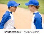 two boys in baseball gear... | Shutterstock . vector #405738244