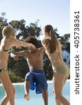 three teenage friends by the... | Shutterstock . vector #405738361