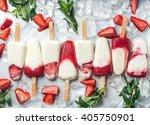 strawberry yogurt ice cream... | Shutterstock . vector #405750901