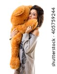 Beautiful Girl With Big Toy Bear