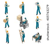 delivery man in uniform at work ... | Shutterstock .eps vector #405763279