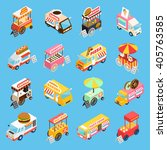 street food trucks and carts... | Shutterstock .eps vector #405763585