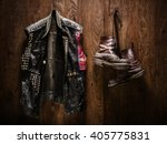 punk rock leather jacket and a... | Shutterstock . vector #405775831