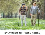 two cheerful elderly men... | Shutterstock . vector #405775867