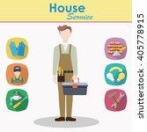 male construction worker vector ... | Shutterstock .eps vector #405778915