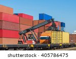forklift handling the container ... | Shutterstock . vector #405786475