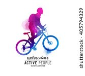 watercolour man riding a bike.... | Shutterstock .eps vector #405794329