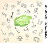 summer objects set. hand drawn... | Shutterstock .eps vector #405805285