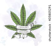 marijuana leaf. hand drawn... | Shutterstock .eps vector #405805291