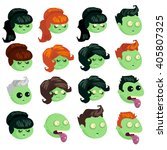 big set of heads zombie... | Shutterstock .eps vector #405807325