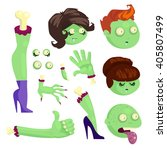 set of body parts of a zombie... | Shutterstock .eps vector #405807499