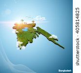 realistic 3d map of bangladesh | Shutterstock . vector #405814825