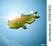 realistic 3d map of cyprus | Shutterstock . vector #405814831
