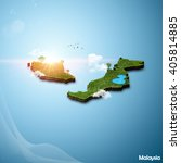 realistic 3d map of malaysia | Shutterstock . vector #405814885
