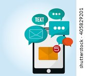 sms graphic and smartphone...   Shutterstock .eps vector #405829201