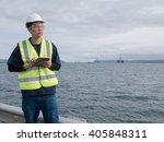 an asian engineer holding a...   Shutterstock . vector #405848311
