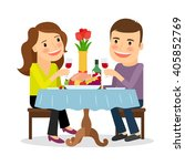 romantic date. couple having... | Shutterstock . vector #405852769