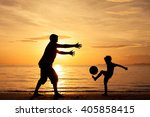 father and son playing on the... | Shutterstock . vector #405858415