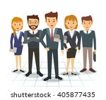 business team of employees and... | Shutterstock .eps vector #405877435