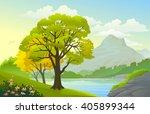 summer landscape and blue lake... | Shutterstock .eps vector #405899344