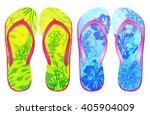 vector colorful flip flops  ... | Shutterstock .eps vector #405904009