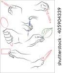 hand holding pencil  dropper ...   Shutterstock .eps vector #405904339