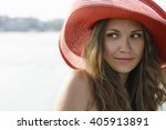 beautiful girl in a red hat... | Shutterstock . vector #405913891