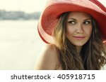 beautiful girl in a red hat... | Shutterstock . vector #405918715