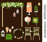 vector set of decorative... | Shutterstock .eps vector #405921001