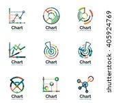 thin line chart logo set. graph ...