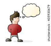 cartoon happy man with thought... | Shutterstock .eps vector #405930679