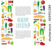 banner foods  a healthy... | Shutterstock .eps vector #405951589
