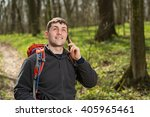 man hiker taking photo with... | Shutterstock . vector #405965461